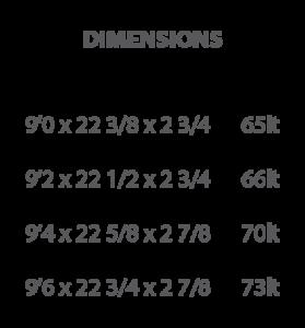 dj surfboard dimensions