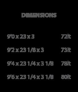 sbs surfboard dimensions